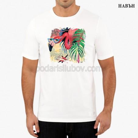 """Мъжка соларна тениска """"Розово Фламинго"""""""