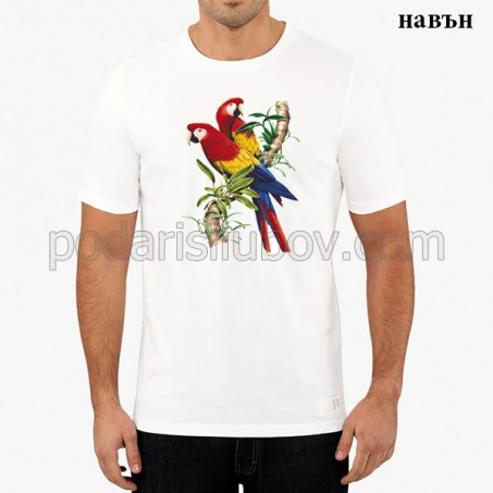 "Мъжка соларна тениска ""Алени папагали"""