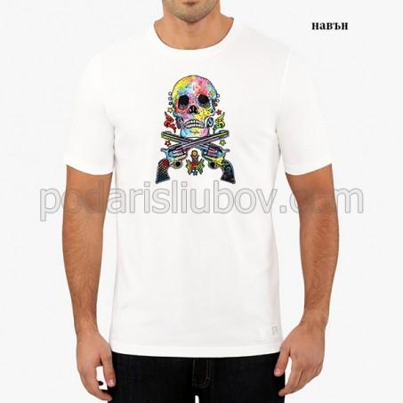 """Мъжка соларна тениска """"Череп и пистолети"""""""
