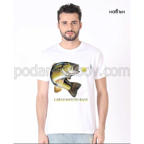 Мъжка соларна тениска Риба - Лаврак (largemouth bass)