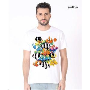 """Мъжка соларна тениска """"Риби клоун"""""""