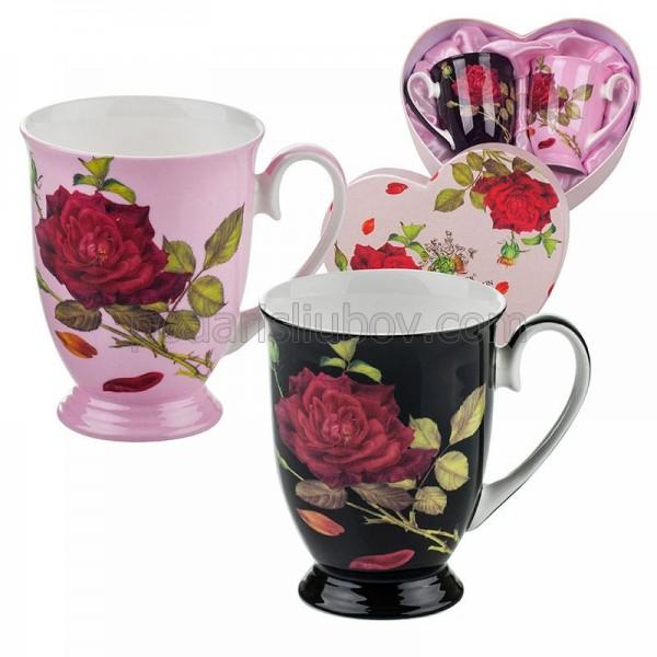 Черно и розово. Комплект чаши за кафе и чай в картонена кутийка.