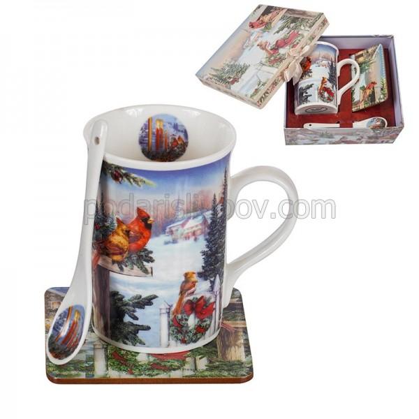Коледен сет с чаша и лъжичка, подаръчна кутия