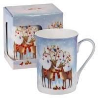 Коледна чаша влюбени еленчета, в кутия