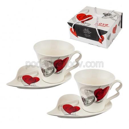 Комплект 2 чаши + 2 чинийки за кафе/чай
