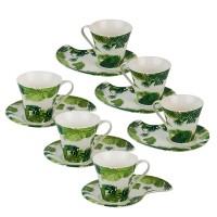 Комплект 6 чаши за кафе с чинийки Палми