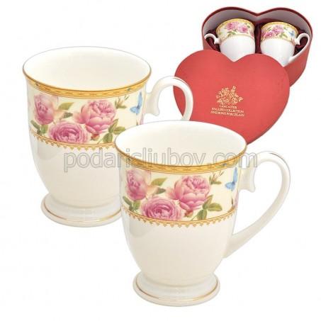 Розови рози. Комплект чаши за кафе и чай в картонена кутийка.