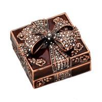 Кутия за бижута с камъчета, кафяв цвят, 4.5*4.5*3.5 см