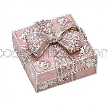 Кутия за бижута с камъчета, розов цвят, 4.5*4.5*3.5 см