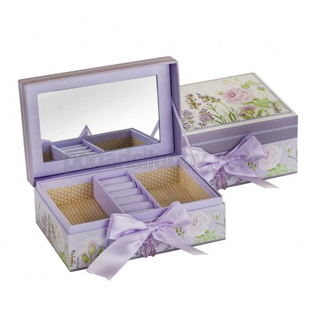 Кутия за бижута с панделка, цвят лавандула