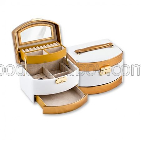 Кутия за бижута в бял и златист цвят , 16*14*13 см