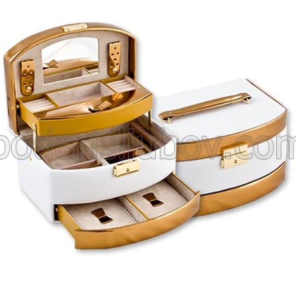 Кутия за бижута в бял и златист цвят , 22*16*13 см