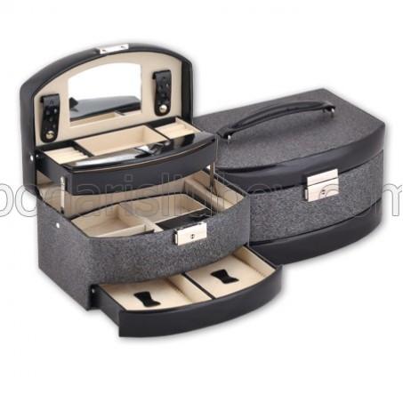 Кутия за бижута в черен цвят, голям размер, 22*16*13 см