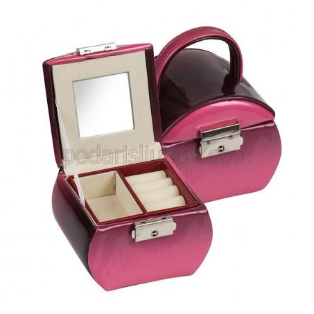 Кутия за бижута в цвят бургунди, 12*9*9 см