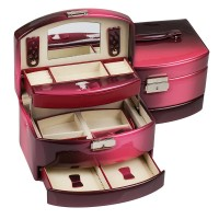 Кутия за бижута в цвят бургунди, голям размер, 22*16*13 см