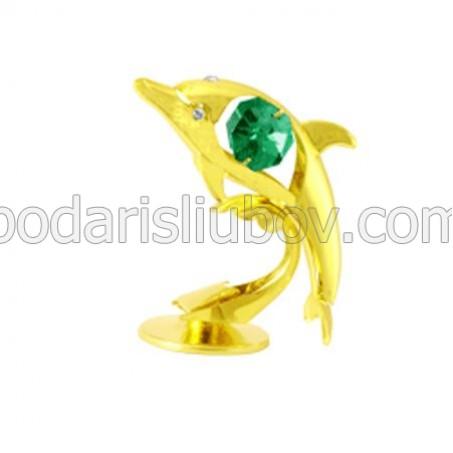 Мини сувенир делфин в златист цвят