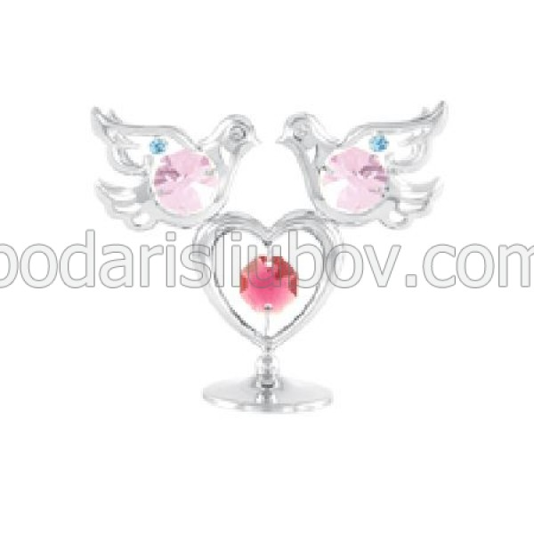 Мини сувенир гълъби със сърце