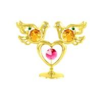 Мини сувенир гълъби със сърце в златисто