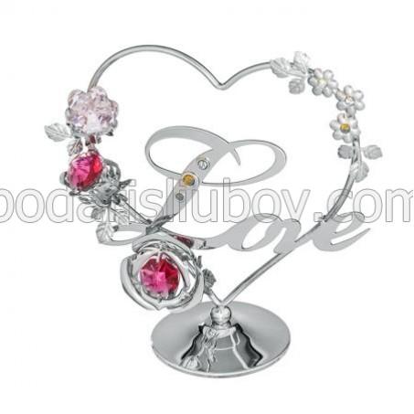 Мини сувенир сърце и цветя