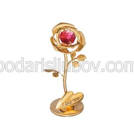 Мини сувенир златна роза, среден размер