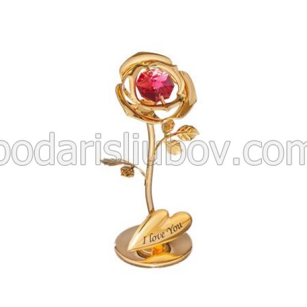 Миниатюрен сувенир роза в златен цвят