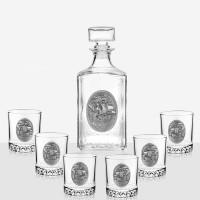 Комплект бутилка за алкохол + чаши Кораб