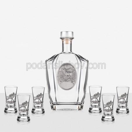 Сет бутилка за ракия + 6 чаши за ловджии