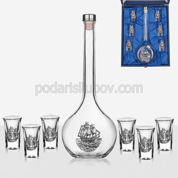 Сет за ракия и 6 чаши Кораб
