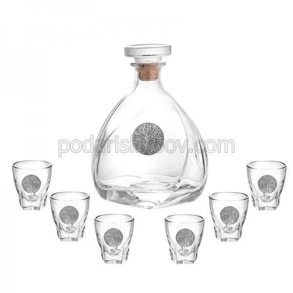 Сет бутилка за ракия + 6 чаши, Дървото на Живота