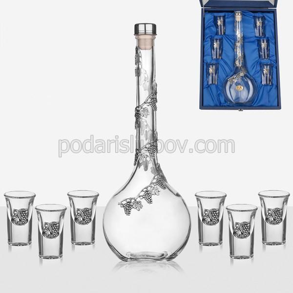 Сет бутилка за ракия + 6 чаши за ракия