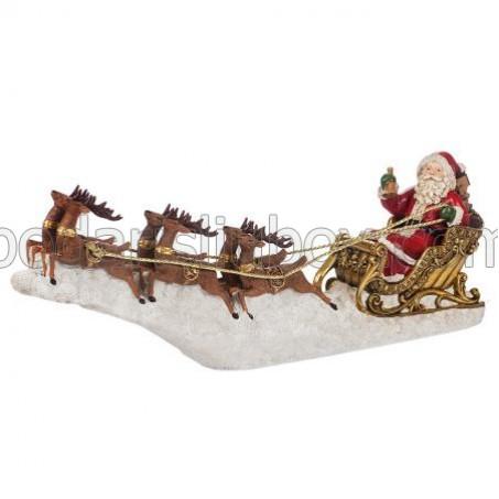 Дядо Коледа на шейна, 64 см