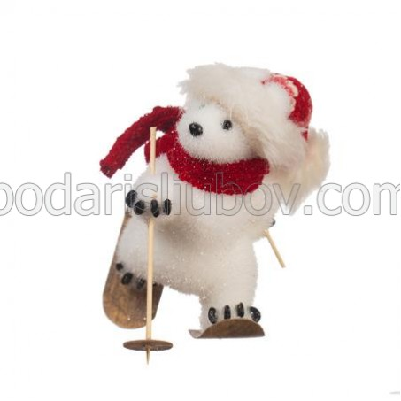 Коледна животинка - Мече със ски, 24см.