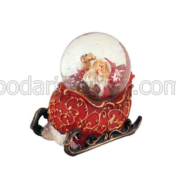 Преспапие Дядо Коледа с шейна, кръгла сфера