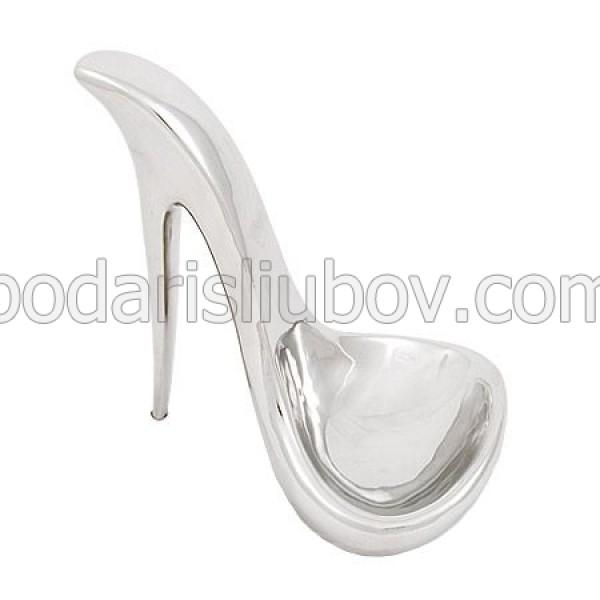 Керамична статуетка Обувка, сребриста