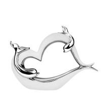 Керамична статуетка сърце с делфин
