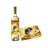 Бутилка вино и бонбони със златен етикет