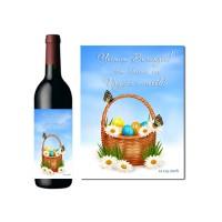 Бутилка вино с корпоративен етикет за Великден