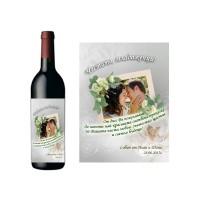 Червено вино с етикет за сватба