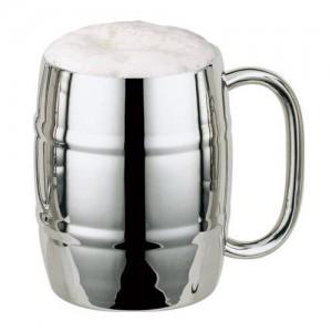 Метална халба за бира, Буре, двустенна, 450мл