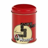 Домино Модиано в червена метална кутия