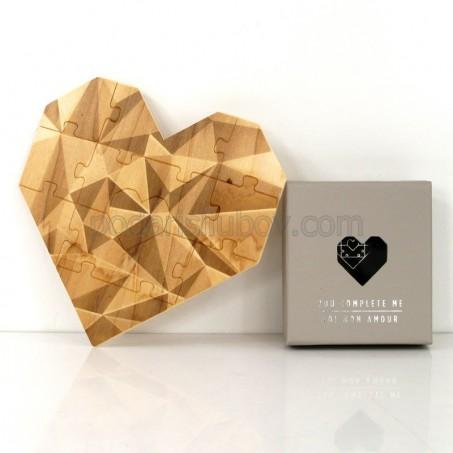 Дървен пъзел сърце