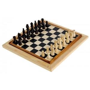Дървена игра 2 в 1 шах и дама