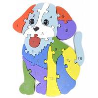 Дървен пъзел за деца, Куче