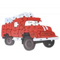 Дървен пъзел за деца, Пожарна кола
