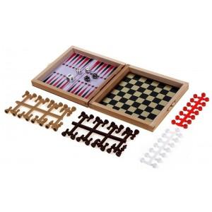 Мини магнитна игра 3 в 1 табла, шах и дама