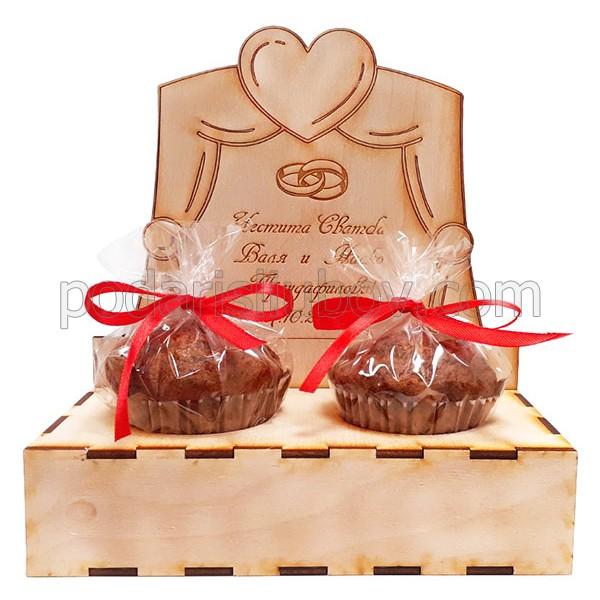 Дървен сет за Сватба със сладки