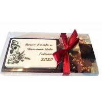 Шоколадова плочка с надпис за Коледа и 4 шоколадчета, в кутия