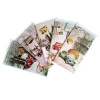 3Д картичка vintage с коли и градове, 12*21,6см