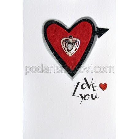 3Д любовна картичка със сърце, Love you, 10*15см