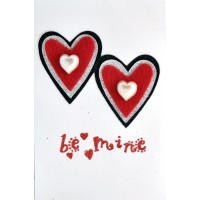 Красива 3Д картичка с две сърца, Be mine, 10*15см